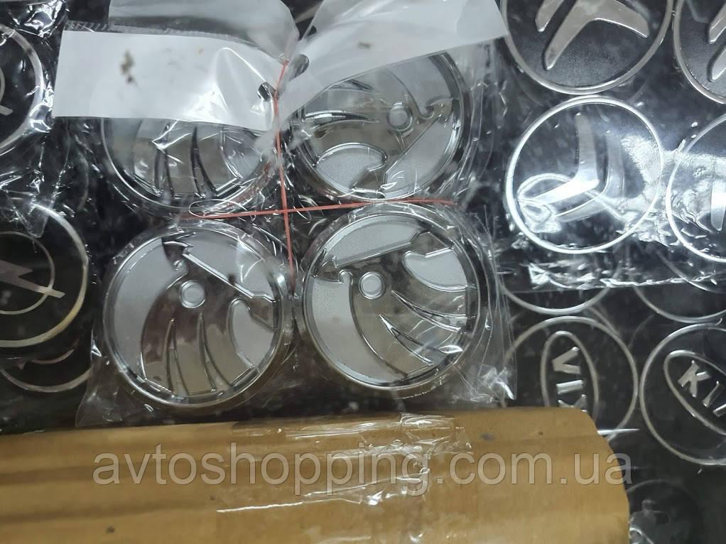 Ковпачки, заглушки на диски Skoda Шкода 60 мм / 56 мм сіра нового зразка