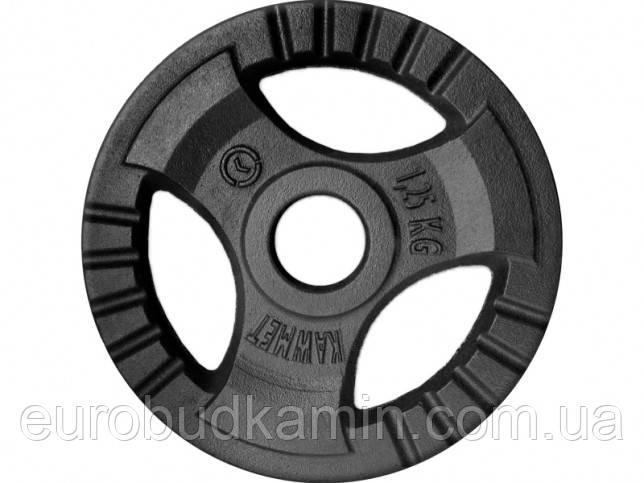 Блин (диск) 1,25 кг для гантели (штанги) с тройным хватом KAWMET под гриф Ø30мм