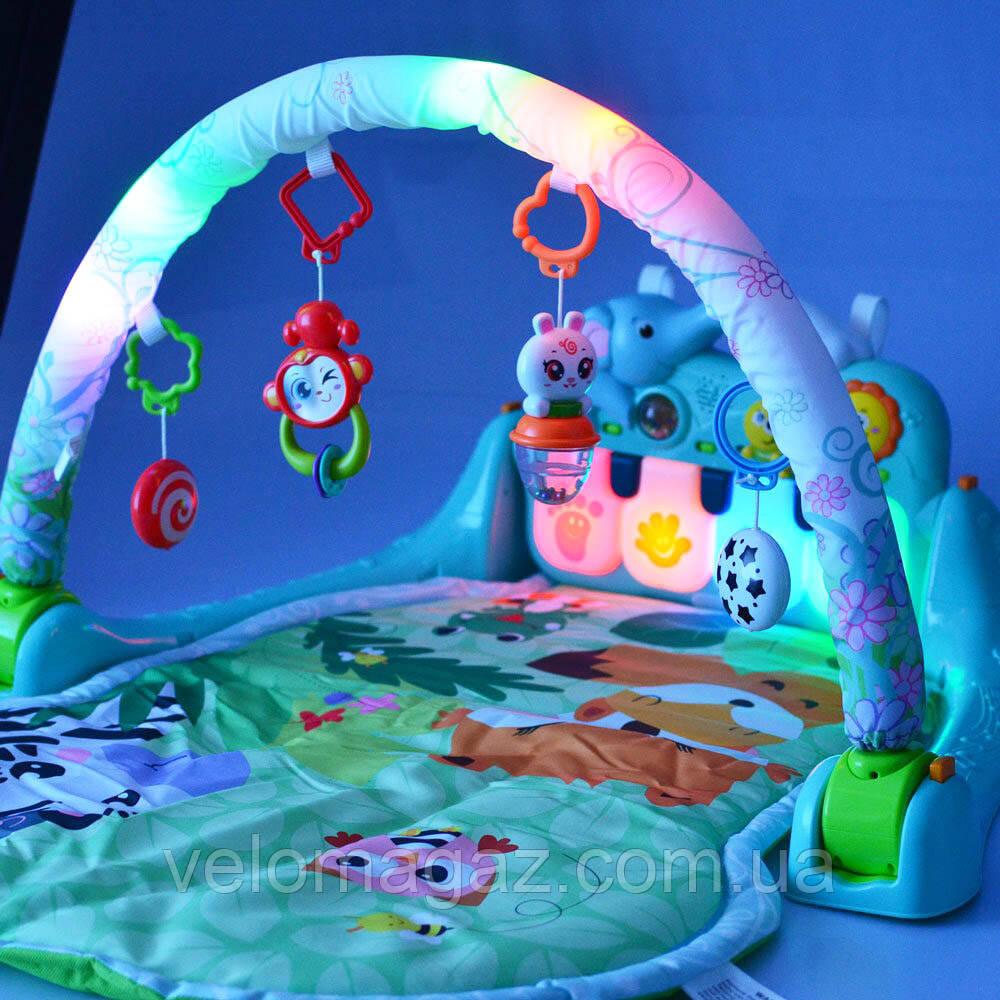 Развивающий коврик для младенца, светящаяся дуга, 900*630 мм с пианино, модель 1102