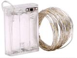 Светодиодная гирлянда нить, проволка, на батарейках 10 м., White, белый, фото 2
