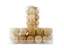 Гирлянда Тайские Шарики LTL Autunno Cotton Balls 20led, диам 6см, длина 330см на батарейках АА