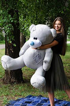 Плюшевий Ведмедик Потап 150 см Світло сірий гладкий