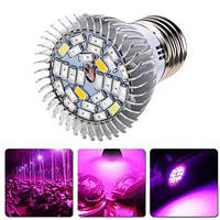 Фитолампа фито лампа для растений, полный спектр E27, 28 LED 8Вт