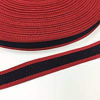 Тасьма репсова 15мм кол червоно-синій темний (боб 50м) 3240