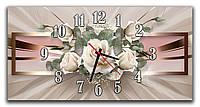 Декоративные 3Д часы картина настенные в зал Абстракция с розами 30х60 см