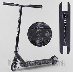 Самокат трюковый Best Scooter (ПЕГИ) HIC-система, алюм диск и дека с ПРИНТОМ, колёса PU, d=110 ширина руля 58