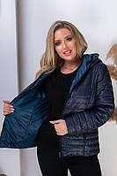 Двухсторонняя куртка женская БАТАЛ арт.185 темно-синий / аква