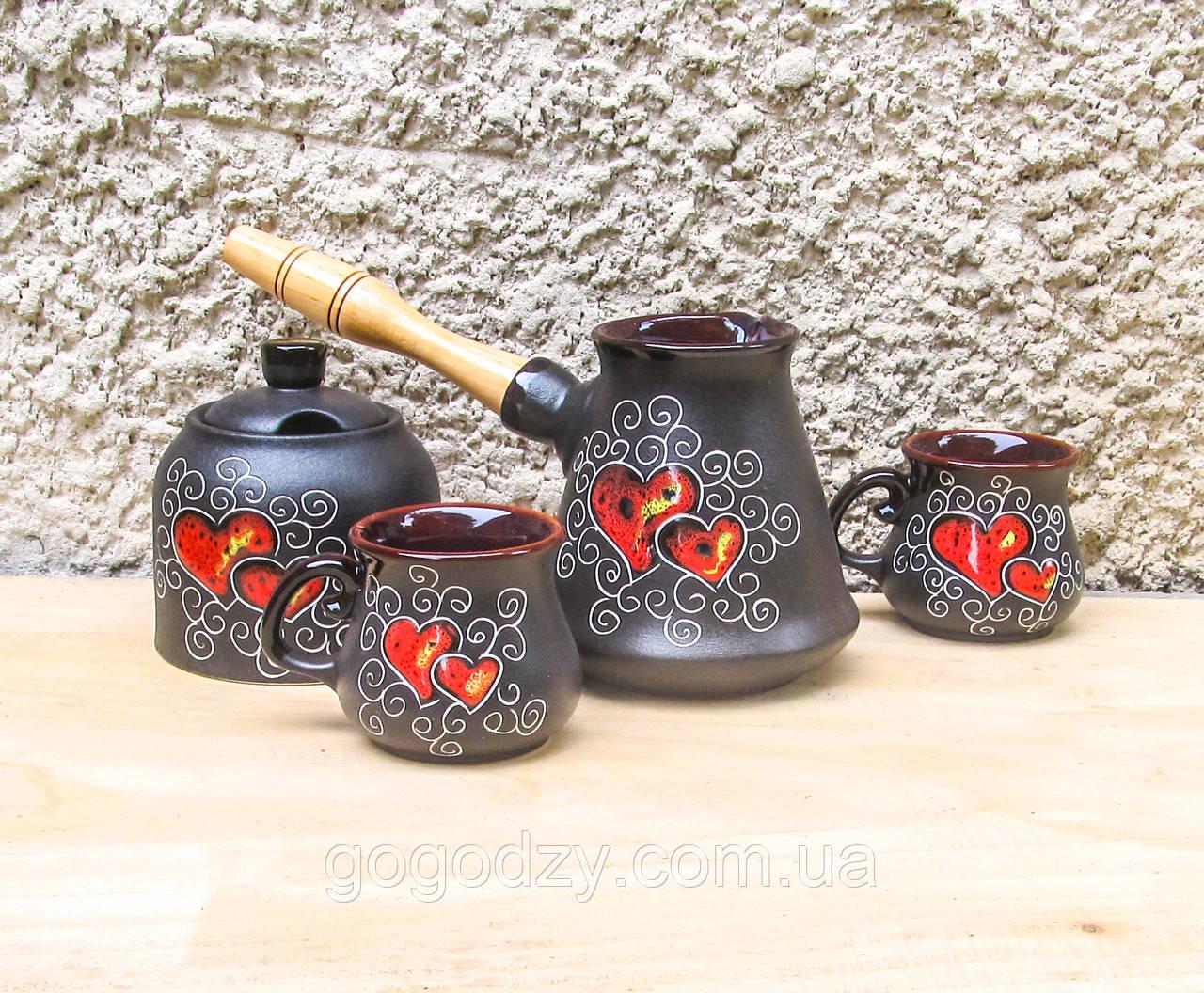 Набір кавовий Ріо з двома горнятками та цукерничкою декор Серце чорний