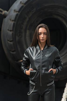 """Кожаная женская куртка-бомбер """"S"""" с карманами и манжетами, фото 2"""
