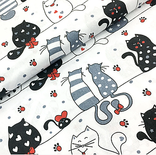 """Польская хлопковая ткань """"мартовские коты c красными лапками на белом"""", фото 2"""