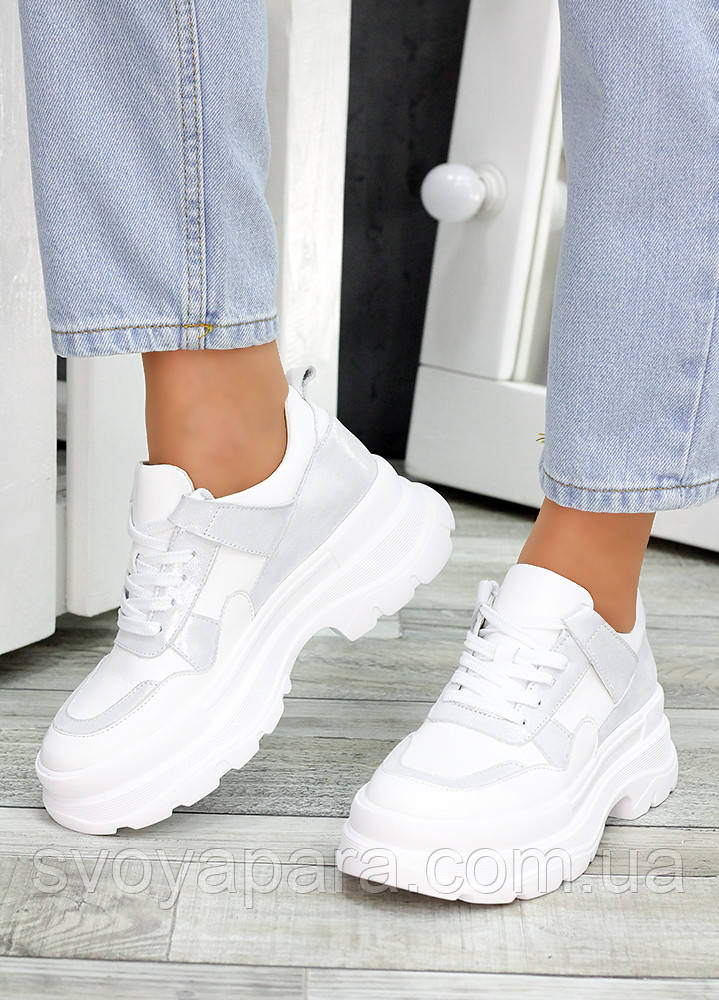 Кроссовки кожаные белые 7474-28