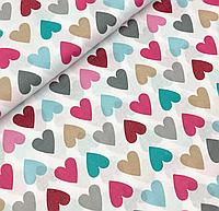 """Польская хлопковая ткань """"сердца цветные малиново-мятно-бежевые"""""""