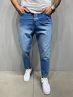 Джинсы мужские синие широкие с потёртостями зауженные к низу свободные джинсы МОМ мужские синие