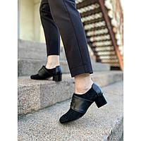 Туфли женские из натуральной замши на удобном каблуке высотой 4 см