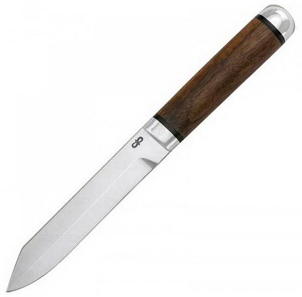 Нож фиксированный АиР Засапожный - 2 (длина: 229мм, лезвие: 122мм), рукоять орех, ножны кожа