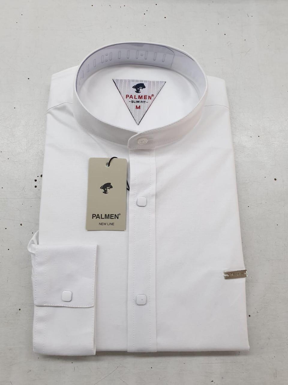 Белая мужская рубашка Palmen slim стойка