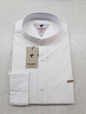 Белая мужская рубашка Palmen slim стойка, фото 2