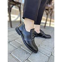 Женские туфли из натуральной кожи черного цвета на низком ходу