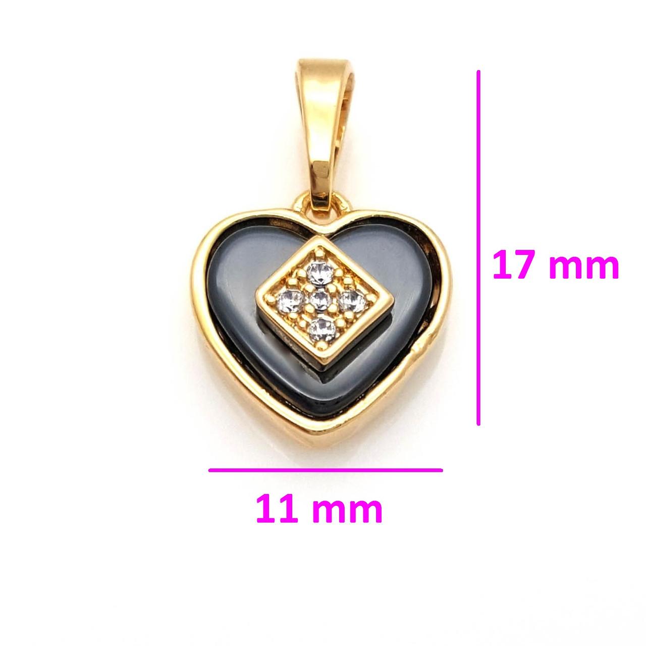 Кулон медзолото Сердце из черной керамики, вставка цирконий