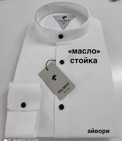 Чоловіча однотонна сорочка Palmen slim стійка айворі, фото 2