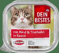 Мясное рагу для кошек с говядиной и индейкой в соусе Dein Bestes für Katzen mit Rind & Truthahn, 100 гр.