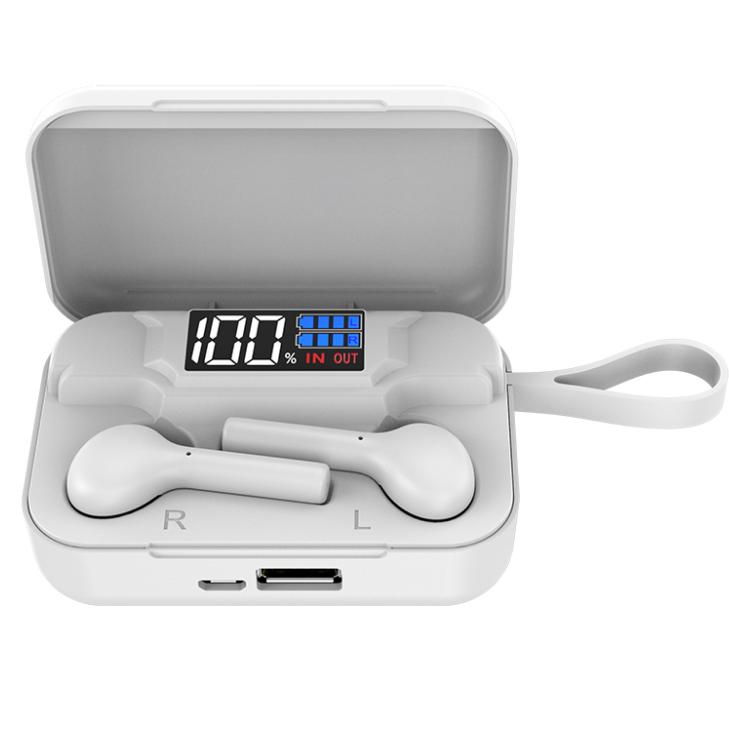 Беспроводные сенсорные наушники AirPlus Pro K18 вакуумные c кейсом Power bank 2200mah. Белый цвет.