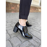 Туфли женские из натуральной лаковой кожи на удобном каблуке 6 см