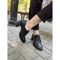 Туфли женские из натуральной кожи на удобном каблуке 6 см
