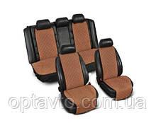 ⭐⭐⭐⭐⭐ Накидки на все сиденья из Алькантары. Универсальные автомобильные накидки премиум качества! Коричневый.