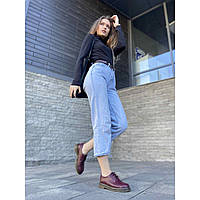 Удобные женские туфли из натуральной кожи бордового цвета низкий ход