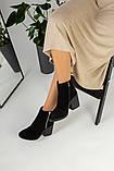 Зимние женские ботинки, замшевые, черные, на меху, с замочками, на небольшом устойчивом каблуке, фото 2