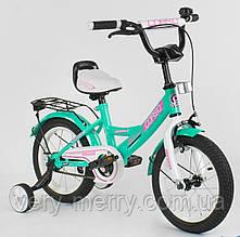 """Дитячий двоколісний велосипед Corso 14"""" (зелений колір) зі страхувальними колесами"""
