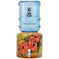 Керамічний диспенсер для води «Квіти коричневі»