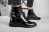 Зимние черные ботинки на шнуровке наплак, фото 5