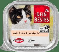 Мясное рагу для кошек с индейкой в соусе Dein Bestes für Katzen mit Pute klassisch, 100 гр.
