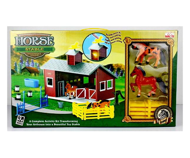 Будиночок ферма з тваринами конячками, манеж зі світлом і музикою Horse