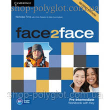Рабочая тетрадь Face2face Second edition Pre-intermediate Workbook with Key