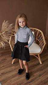 Юбка для девочек с карманами черный костюмка Papali Украина 7 лет, рост 122 см