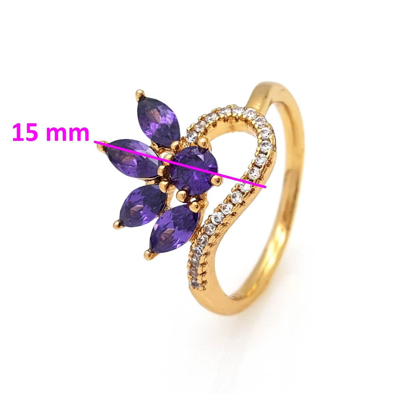 Кольцо Цветок с фиолетовым цирконием, p. 18, р. 18,5, медицинское золото, 18К