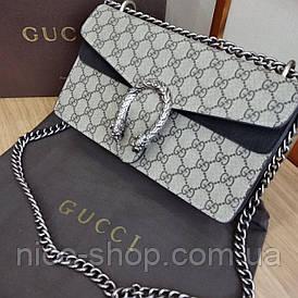 Сумочка Gucci кожаная с черной отделкой в коробке
