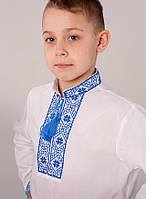 Вышиванка для мальчика с вышивкой синего цвета