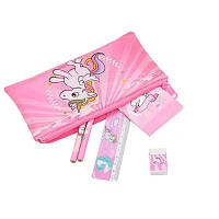 Розовый пенал Единорог - канцелярский набор линейка, карандаш, блокнот, ластик, точилка