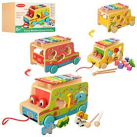 """Дерев'яна іграшка """"розвиваючий Центр"""", машинка, сортер, ксилофон, 2 види, MD2375"""