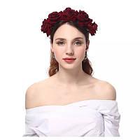 """Венок на голову """"Rozy"""", с красивыми бордовыми розами., фото 1"""
