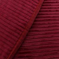 Однотонный плед рифленый покрывала из микрофибры бордового цвета