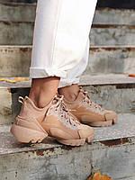 Женские кроссовки Dior D-Connect Beige \ Диор Д-Коннект Бежевые \ Жіночі кросівки Діор Д-Коннект Бежеві