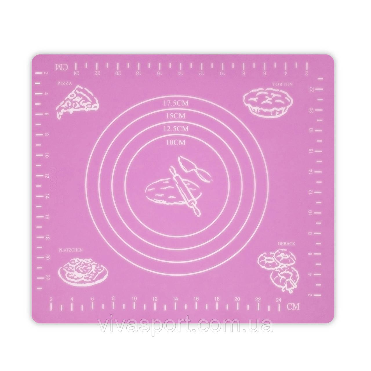Коврик-подложка для раскатывания теста, 29*26 см, розовый