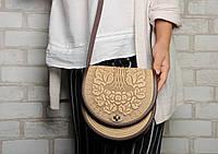Женская кожаная сумка ручной работы полукруглая, сумка бежевая с коричневым, фото 1