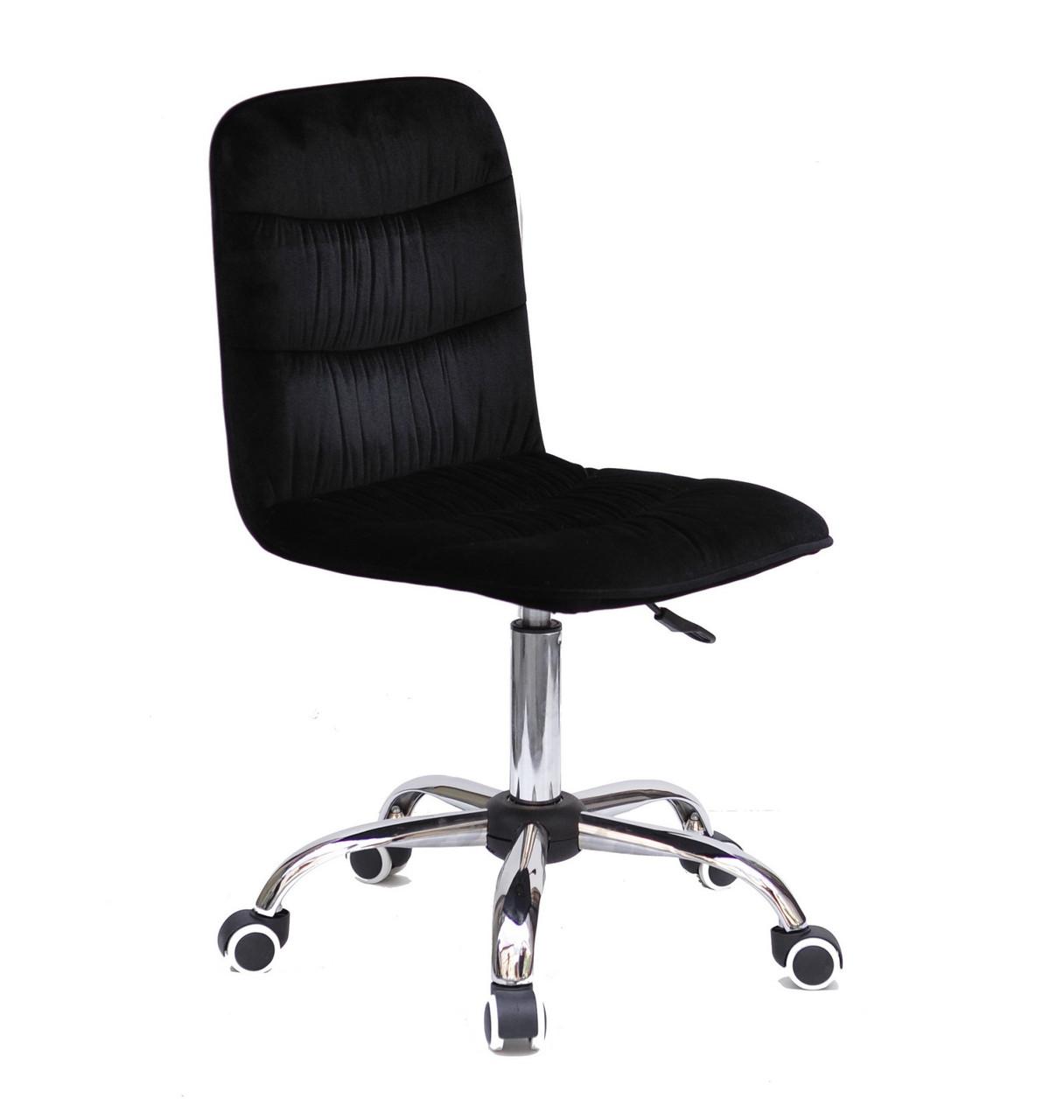 Кресло офисное  на колесах  SPLIT   CH- OFFICE  бархат  ,  черный   в-1011