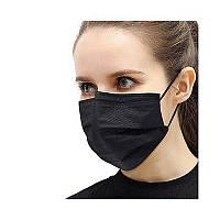 Медицинская маска черная трехслойная фабричная паяная с фиксатором 80 шт